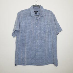 Van Heusen Short Sleeve Button Down Blue Stripe XL